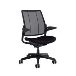 HUMANSCALE SMART OCEAN TASK CHAIR- ADJUSTABLE DURON ARMS- MONOFILAMENT MESH BACK IN BLACK- CORDE4 FABRIC SEAT IN BLACK- BLACK BASE