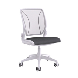 HUMANSCALE CHAIR WORLD ARMLESS MESH PIN OXYG WHI