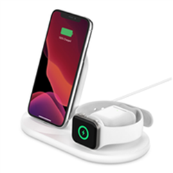 BELKIN QI WIRELESS 3 IN 1 CHARGING DOCK STAND 10W FOR PHONE- APPLE WATCH AND AIRPOD- 2YR
