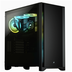 4000D TEMPERED GLASS MID-TOWER CASE- BLACK
