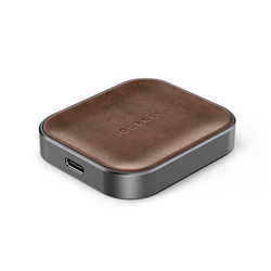 JOURNEY APPLE AIRPOD WIRELESS CHARGER - GERMAN LEATHER - TAN