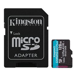 128GB MSDXC CANVAS GO PLUS 170R A2 U3 V30 CARD+ ADAPTER