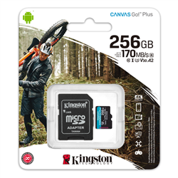 256GB MSDXC CANVAS GO PLUS 170R A2 U3 V30 CARD + ADAPTER