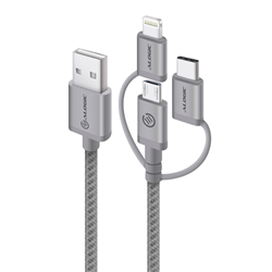ALOGIC 3-IN-1 CHARGE & SYNC CABLE - MICRO USB- LIGHTNING & UBS-C - 30CM SPACE GREY - PRIME SERIES (APPLE CERTIFIED UNDER MFI) - MOQ:3