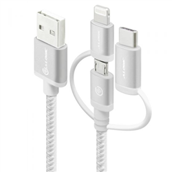 ALOGIC 3-IN-1 CHARGE & SYNC CABLE - MICRO USB- LIGHTNING & UBS-C - 30CM SILVER - PRIME SERIES (APPLE CERTIFIED UNDER MFI)