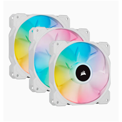 WHITE SP120 RGB ELITE- 120MM RGB LED FAN WITH AIRGUIDE- TRIPLE PACK WITH LIGHTING NODE CORE