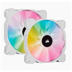 WHITE SP140 RGB ELITE- 140MM RGB LED FAN WITH AIRGUIDE- DUAL PACK WITH LIGHTING NODE CORE