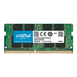 CRUCIAL 8GB DDR4 NOTEBOOK MEMORY- PC4-21300- 2666MHZ- UNRANKED- LIFE WTY