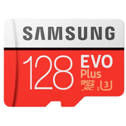 MICRO SDXC 128GB EVO PLUS /W ADAPTER UHS-1 SDR104- CLASS 10- GRADE 1 (U3)- UP TO 100MB/S READ- 60MB/S WRITE- 10 YEARS LIMITED WARRANTY