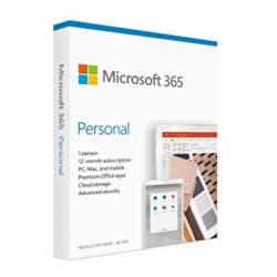 MICROSOFT 365 PERSONAL WIN/MAC- RETAIL BOX- 1 YEAR SUBSCRIPTION- P6