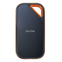 SANDISK EXTREME PRO PORTABLE SSD SDSSDE80 2TB USB 3.1 GEN 2 TYPE C TYPE A COMPATIBLE SPEEDS UP TO 1050MB/S IP55 DUST-WATER RESISTANCE RUGGEDIZED CASE WITH ALUMINUM BUMPER BODY 5Y