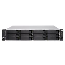 QNAP 12-BAY NAS(NO DISK)- XEON QC 3.3GHZ- 8GB- 10GBE SFP+(2)- GBE(4)- 2U- 3YR WTY