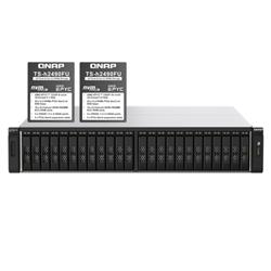 QNAP 24-BAY NAS (NO DISK) AMD 8-CORE 3.1GHZ- 64GB- 25GBE SFP+(4)- 2.5GBE(2)- RPSU- 5YR WTY