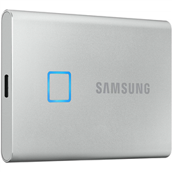 SAMSUNG T7 TOUCH 1TB PORTABLE USB-C SSD- UP TO 1050MBS R/W- SILVER- USB-C- 3YR WTY
