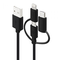 ALOGIC 30 CM 3-IN-1 CHARGE & SYNC CABLE - MICRO USB- LIGHTNING & USB-C - BLACK (APPLE CERTIFIED UNDER MFI) - MOQ:3